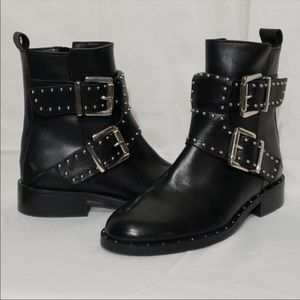 Charles David Silver Studded Black Ankle Boots